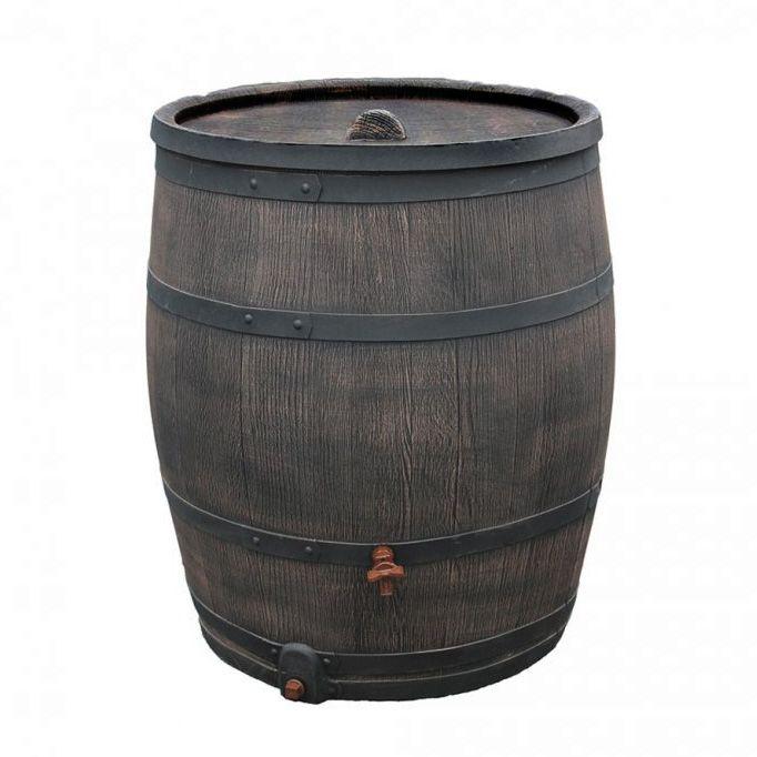 Okrasný plastový sud 240 l - imitace dřeva