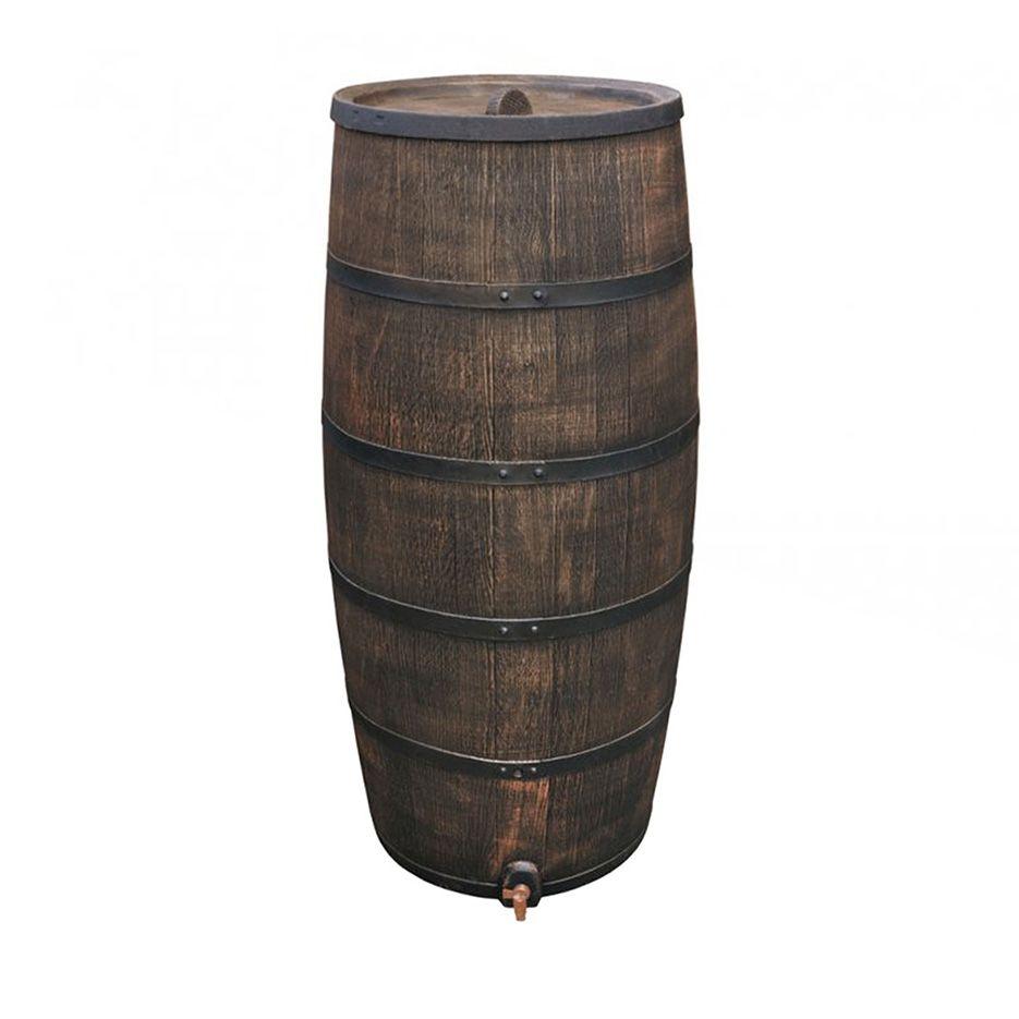 Okrasný plastový sud 500 l - imitace dřeva